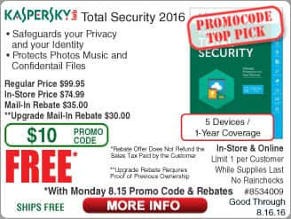 Kaspersky Total Security 2016 5-dev/1yr FAR @Frys (starts 8/15 w/emailed code)  Intel Pentium G3258 CPU $39, Logitech Harmony 350 Remote $35
