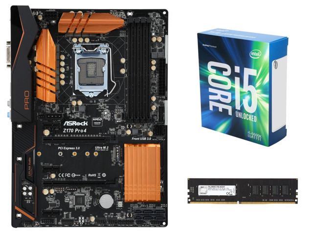 Intel Core i5-6600K Skylake CPU, ASRock Z170 Pro4 LGA 1151 ATX Motherboard G.SKILL NT Series 8GB DDR4 2400 RAM $337AR @Newegg