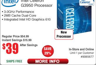 Intel Celeron G3950 Kaby Lake LGA1151 CPU $39 (w/emailed code starts 4/3)