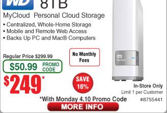 8TB WD My Cloud Personal NAS WDBCTL0080HWT-NESN $249@Frys (w/emailed code)  Sentinel Cross-Cut Shredder $20