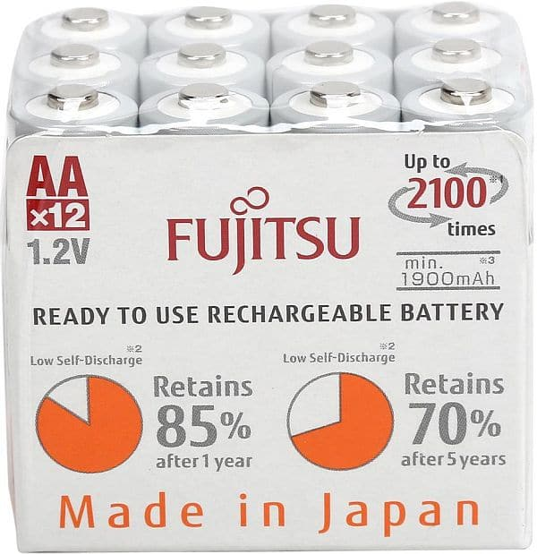 Fujitsu AA 2000 mAh 2100 Cycles Ni-MH Pre-Charged Rechargeable Batteries 12-Pack  $20AC @Newegg