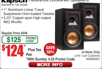 Klipsch Reference Bookshelf Speaker R-15M $124/pr R25C Center Channel $124@Frys (w/emailed code)
