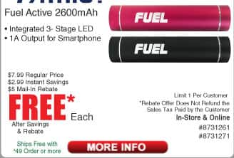 Patriot Fuel 2600mAh Power Bank / LED Light Free after $5 Rebate @Frys