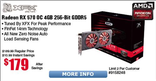 XFX AMD Radeon RS XXX Edition RX 570 4GB Video Card $179@Frys