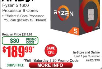 AMD Ryzen 5 1600 6-core (12-Thread) Processor (Boxed) $190@Frys (w/emailed code)