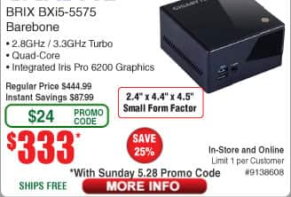 GIGABYTE BRIX GB-BXi5-5575 (rev. 1.0) Intel HM87 Barebones PC Kit $333@Frys (w/emailed code)