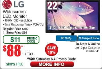 "LG 22"" Widescreen IPS Monitor 22MP48HQ $88 (w/emailed code)"