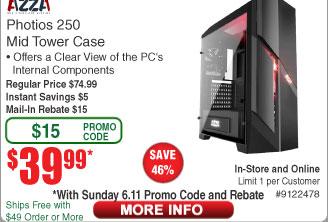 AZZA Photios 250 Case $40AR (w/emailed code starts 6/11) Netgear R7800-100NAS Nighthawk X4S AC2600 Router $169