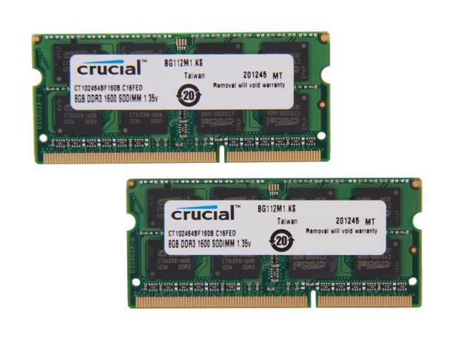 Crucial 16GB (2x 8) DDR3L 1600 SO-DIMM $85AC