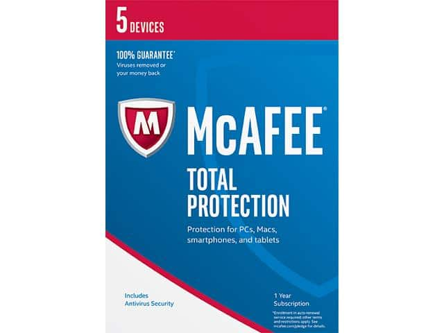 McAfee Total Protection 2017 - 5 Device Free after $55 Rebate @Newegg