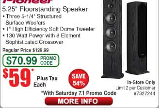 "Pioneer SP-FS52 5.25"" Floor Standing Speaker $59ea (starts 7/1 w/emailed code))"