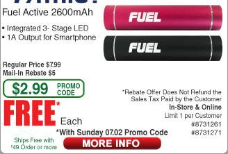 Patriot Fuel 2600mAh Power Bank / LED Light Free after $5 Rebate (w/emailed code)