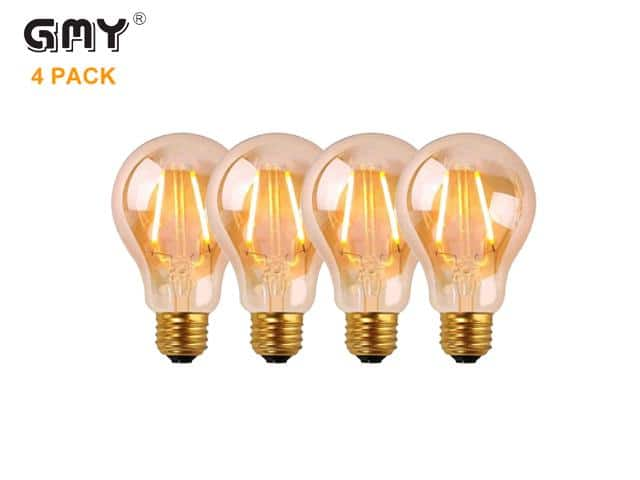 GMY Lighting A19 2.5W Edison Vintage Style Dimmable LED Filament Light Bulb 2200K 4-pk $10;  4-pk ST64 40W Incandescent $10; 6-pk/$12 and more
