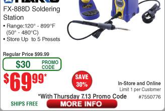 HAKKO FX-888D Soldering Iron / Digital Station Type $70 (w/emailed code starts 7/13)