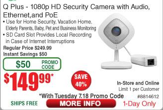 Netgear Arlo Q Plus 1080P HD Security Cam $150 (w/emailed code)
