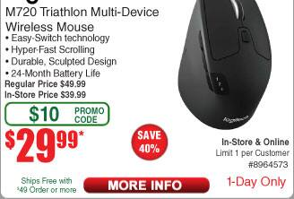 Logitech M720 Triathlon Wireless Optical Mouse $30 (w/emailed code starts 7/22)