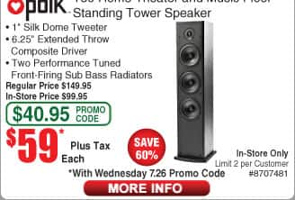 "Polk Audio T50 Floor Standing Tower Speakers $59 ea (w/emailed code)  Klipsch Reference 12"" 400W Subwoofer $197"