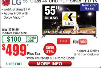 "LG 55"" Class (54.6"" Actual Diagonal Size) UJ6300 Series Smart LED TV 55UJ6300 $499 (w/emailed code)"