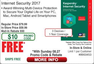 Kaspersky Internet Security 2017 3-Device 1 Yr Free after $50 Rebate (w/emailed code 8/27)  ESET NOD32 Anti-Virus 2017 3-PC 1yr $15