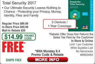 Kaspersky Total Security 2017 - 3 Devices / 1 Year Coverage Free after $55 Rebate (w/emailed code 9/4)  Norton Security Deluxe - 5 Devices / 1-Year FAR