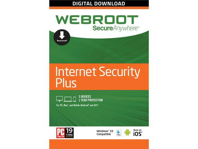 Webroot Internet Security Plus + Antivirus 2017 - 3 Devices 1 Year Subscription - Download $15AC