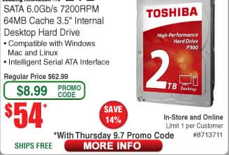 2TB Toshiba P300 7200RPM Boxed Hard Drive $54 (w/emailed code 9/7) 8GB (2x 4) Patriot Viper 3 DDR3 1600 Desktop RAM $45AR