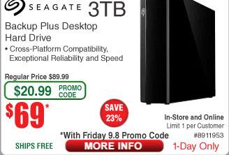 3TB Seagate Backup Plus USB 3.0 Hard Drive - Desktop External STFM3000100 $69 (w/emailed code 9/8);  Canon Pixma MX-492 AIO Color Printer $30