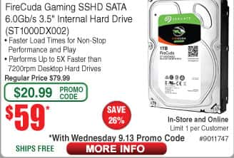 "1TB Firecuda 3.5"" SSHD Hybrid Hard Drive $59 (w/emailed code 9/13)"