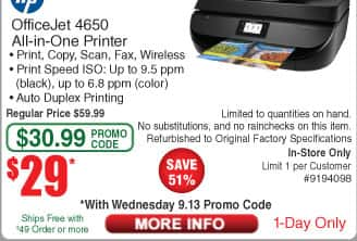 HP OfficeJet 4650 All-in-One Printer (RFB( $29  (w/emailed code 9/13)