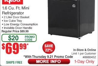 Igloo FR100 1.6 cu ft Mini Refrigerator - Black $70 (w/emailed code)