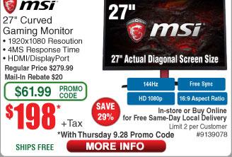 """27"""" MSI Optix G27C 1920x1080 4ms 144Hz VA HDMI Curved LED Gaming Monitor $198AR"""