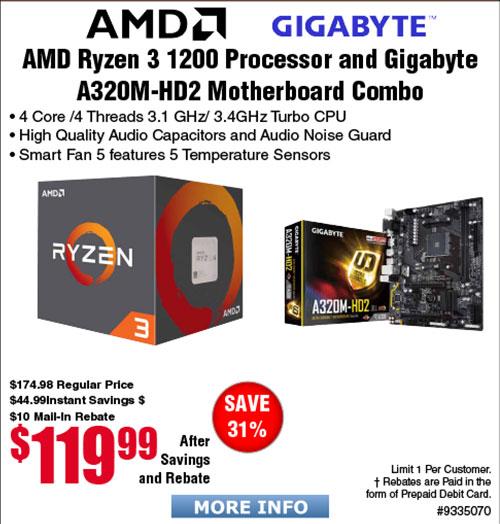 AMD Ryzen 3 1200 4-Core Processor and Gigabyte AB320M-HD2 motherboard bundle $120 AR (starts 10/1)