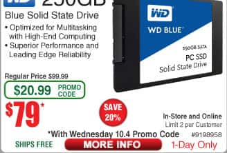 """250GB WD Blue 2.5"""" Solid State Drive $79 (w/emailed code 10/4)"""