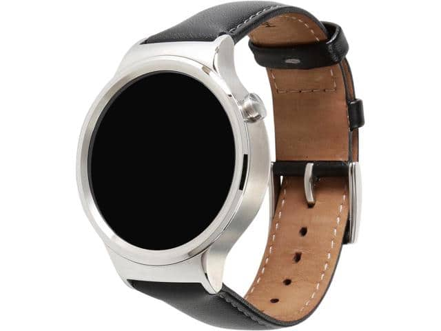 Huawei Smart Watch Stainless Steel with Black Suture Leather Strap (Model 55020533-RF) $130