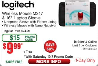 """Logitech M217 Wireless Mouse & 16"""" Laptop Sleeve $10 (w/emailed code 10/7)  32GB Samsung Bar Flash Drive$10"""