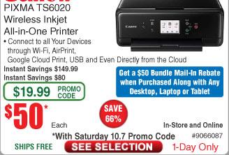 Canon PIXMA TS6020 Compact Wireless All-in-One Auto Duplex Printer $50