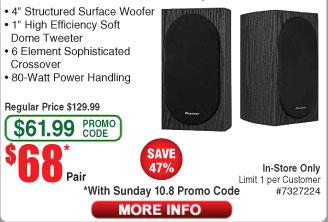 Pioneer SP-BS22-LR Andrew Jones Bookshelf Speakers $68/pr (w/emailed code starts 10/8)