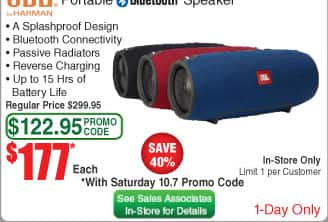 JBL Xtreme Splashproof Portable Bluetooth Speaker $177 (w/emailed code 10/7 in-store)