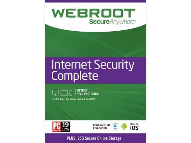 Webroot Internet Security Complete + Antivirus 2017 - 5 Devices 1 Year Subscription - Download $15AC