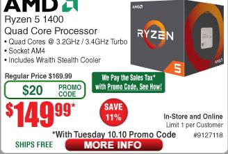 AMD Ryzen 5 1400 Processor $150 (w/emailed code 10/10)