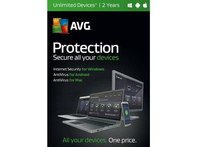 AVG Protection 2017 Unlimited Devices - 2 Years Free after $20 Rebate