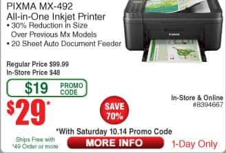 Canon Pixma MX-492 AIO Color Printer $29 (w/emailed code 10/14)  $0.99 zip ties