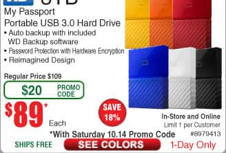 3TB WD My Passport Portable Hard Drive $89 (w/emailed code)