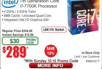 Intel Core i7-7700K Processor $289 (w/emailed code starts 10/15)  Enermax SteelWing iTX Case $100AR