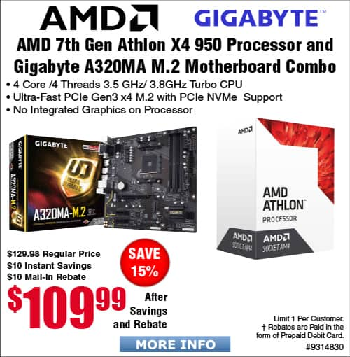AMD X4 950 AM4 Processor and Gigabyte A320MA Motherboard bundle $110A