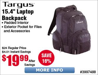 """Targus® CVR600 Groove 15.4"""" Backpack $20"""