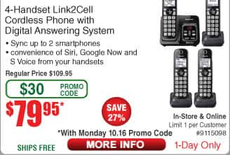 Panasonic 4-Handset Link2Cell Cordless Phone Set $80 (w/emailed code 10/16)