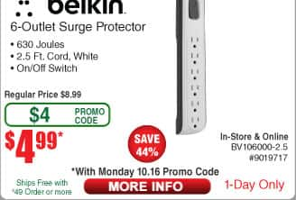 Belkin 6-outlet 630j Surge Protector $5 (w/emailed code 10/16)