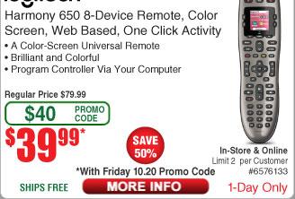 Logitech Harmony 650 Remote $40  w/FS(w/emailed code 10/20)