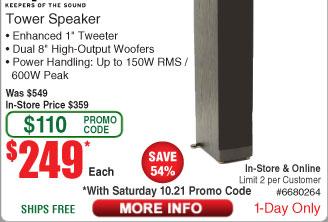 Klipsch RF-82 II Floorstanding Loudspeaker $249 (w/emailed code)